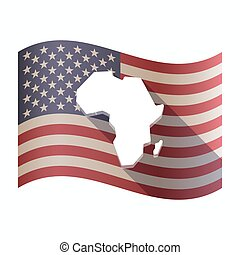 Isolated  USA flag with  a map of the african continent