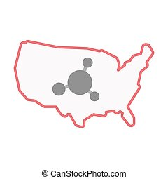 Isolated USA map with an interconnected net sign -...