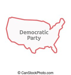 Isolated USA map with  the text Democratic  Party