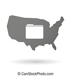 isolated USA vector map icon with a folder