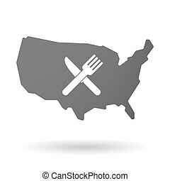 isolated USA vector map icon with a knife and a fork
