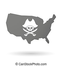 isolated USA vector map icon with a pirate skull