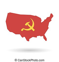 isolated USA vector map icon with the communist symbol