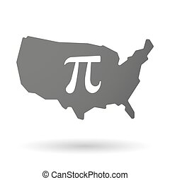 isolated USA vector map icon with the number pi symbol