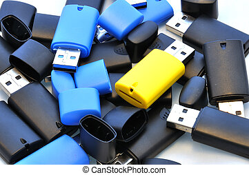 Isolated usb memory sticks - Black and blue and yellow usb...