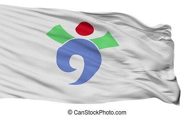 Isolated Usuki city flag, prefecture Oita, Japan - Usuki...