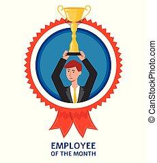 isolated., vecteur, employé, mois, homme affaires, plat, marque, illustration