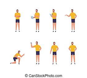 isolated., vecteur, ensemble, fitness, homme, ou, entraîneur, entraîneur, caractère, illustration, plat