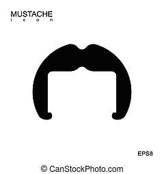 isolated., vecteur, noir, moustache, icône