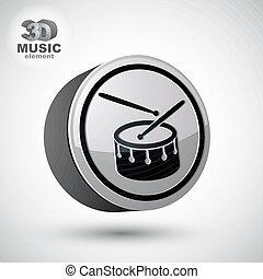 isolated., vecteur, tambour, 3d, icône