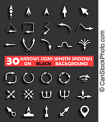 vector arrows signs whith shadows on black