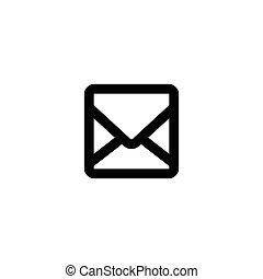 Isolated vector black contoured envelope icon. Message sign on the white background.