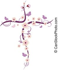 Isolated vector Christian cross with flowers and butterflies