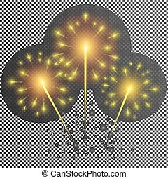 Isolated vector fireworks on transparent background. Yellow glowing light glitter effect.