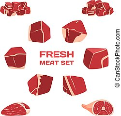 Isolated Vector Freash Meat Set.