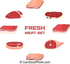 Isolated Vector Freash Meat Set. Butcher shop.
