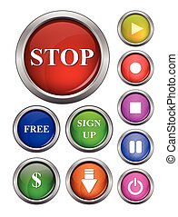 isolated vector, glossy web button