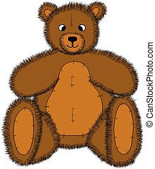 isolated vector hand-drawn cartoon cute teddy bear