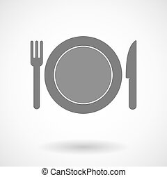 Isolated vector illustration of  a dish, knife and a fork icon