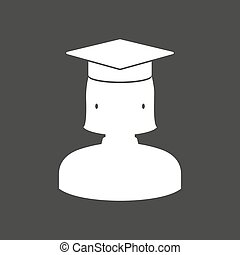Isolated vector illustration of  a female graduated student