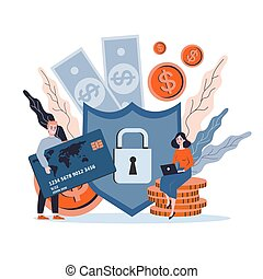 Isolated vector illustration of money protection concept,