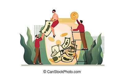 Isolated vector illustration of money protection concept