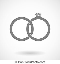 Isolated vector illustration of  two bonded wedding rings