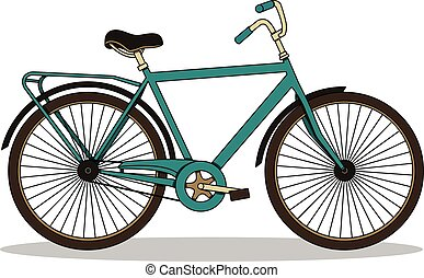 Isolated vector illustration with vintage turquoise city bicycle