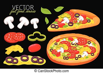 Isolated vector mushrooms pizza. Fast food set.