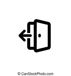 Isolated vector outlined exit icon. Black contoured open door with an arrow on the white background.