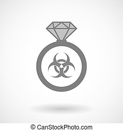Isolated vector ring icon with a biohazard sign