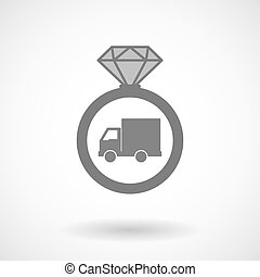 Isolated vector ring icon with a delivery truck
