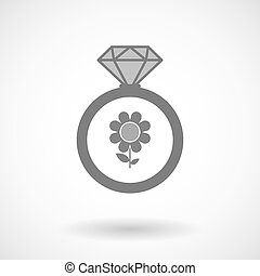 Isolated vector ring icon with a flower
