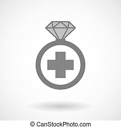 Isolated vector ring icon with a pharmacy sign