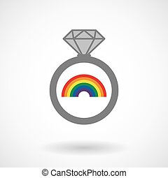 Isolated vector ring icon with a rainbow