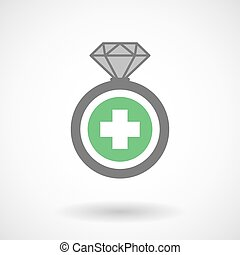 Isolated vector ring icon with a round pharmacy sign