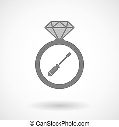 Isolated vector ring icon with a screwdriver