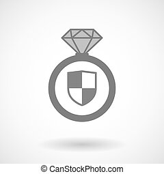 Isolated vector ring icon with a shield