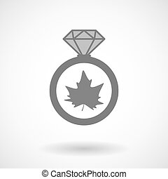 Isolated vector ring icon with an autumn leaf tree