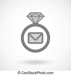Isolated vector ring icon with an envelope