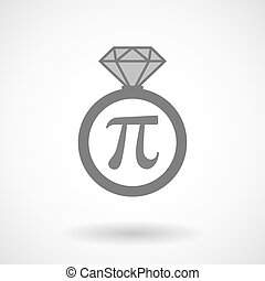 Isolated vector ring icon with the number pi symbol