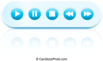 Isolated vector round glossy media player interface