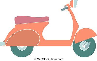 isolated., vector, spotprent, kleurrijke, motorfiets