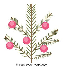 Isolated vector spruce simple green branch with red balls on a white background.