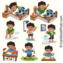 The daily routine of African american boy on a white background.