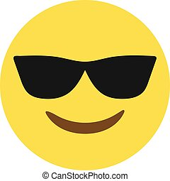 Isolated vector yellow face with black sunglass and smiley flat icon
