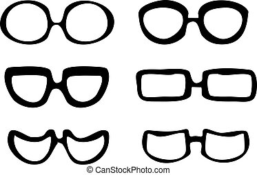 Black and white isolated vector set of 6 pairs of cartoon style hand drawn glasses illustration