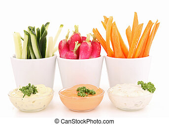 isolated vegetables and dips