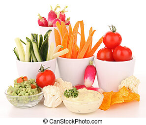 isolated vegetables anf dips