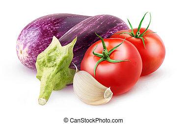 Raw aubergines, tomato and garlic isolated on white background